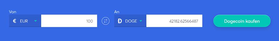Tauschbarren zum Kauf von dogecoin