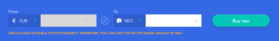 Exchange bar to buy neo