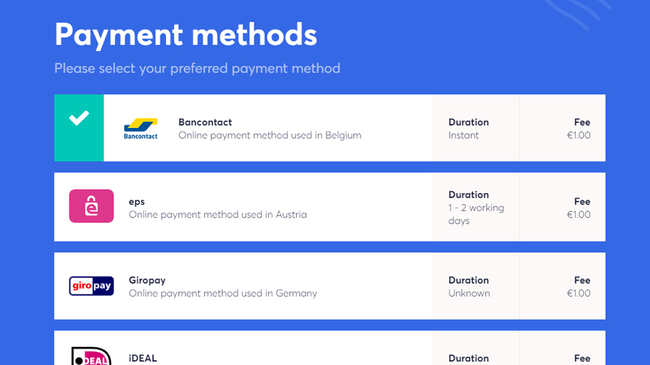 select preferred payment method to buy cryptocurrency
