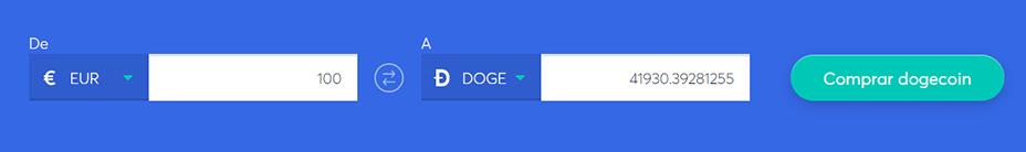 Cambiar la barra para comprar dogecoin