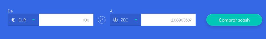 Cambiar la barra para comprar ZCash