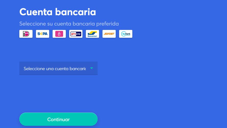 elija la cuenta bancaria o tarjeta de crédito para pagar la criptomoneda