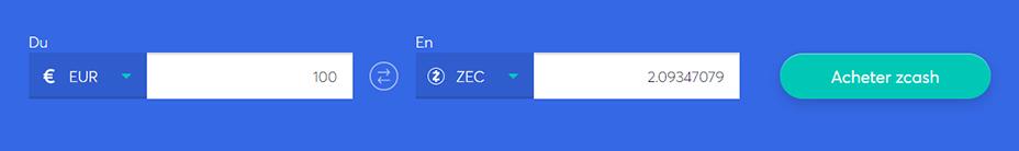 Echange de barres pour acheter du ZCash