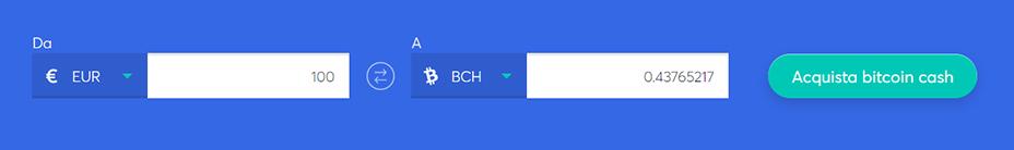 Barra di scambio per comprare bitcoin cash