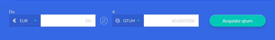 Barra di scambio per comprare Qtum