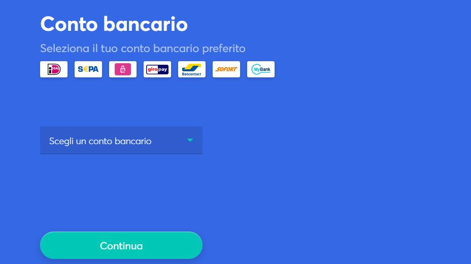 scegli il conto bancario o la carta di credito per pagare la criptovaluta