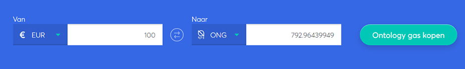 Exchange bar om ontology gas te kopen