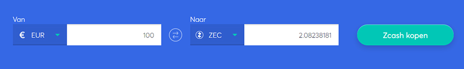 Exchange bar om ZCash te kopen