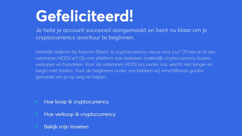 u heeft nu uw account aangemaakt en kunt beginnen met handelen in cryptocurrency