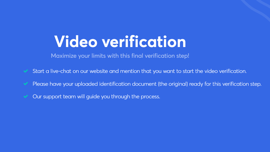 complete the video verification to raise your limits