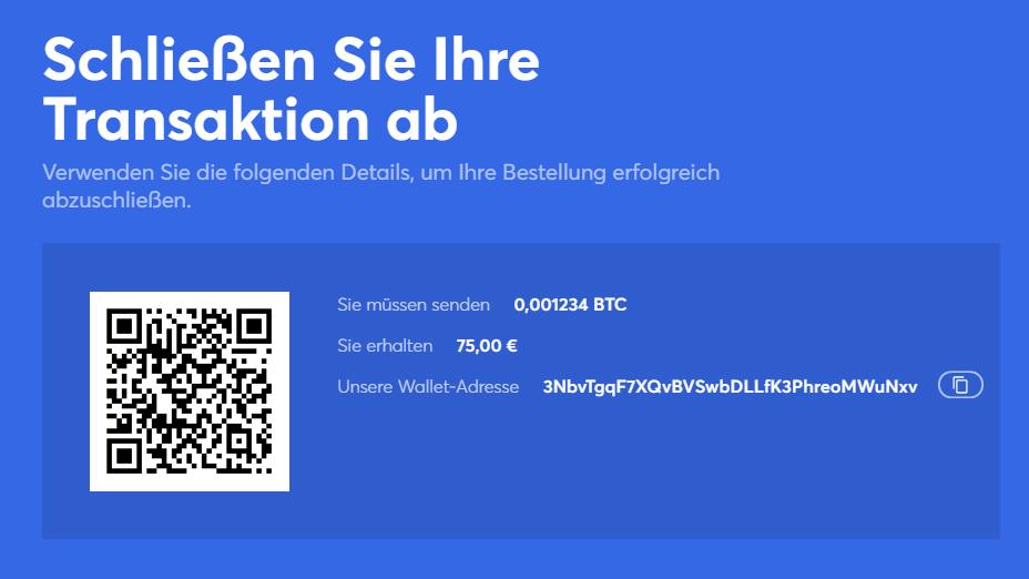 Senden Sie Ihre Kryptowährung an die Brieftaschenadresse von anycoin direct