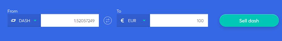 Exchange bar to sell dash