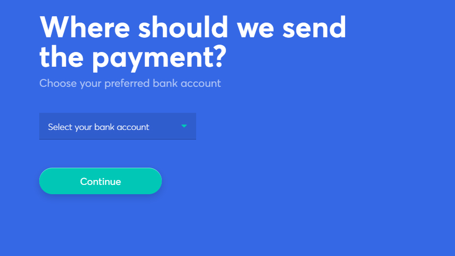 select your bank account to sell your cryptocurrency