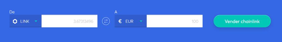 Cambiar la barra para vender chainlink
