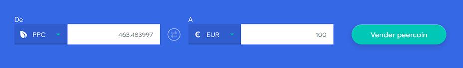 Cambiar la barra para vender Peercoin