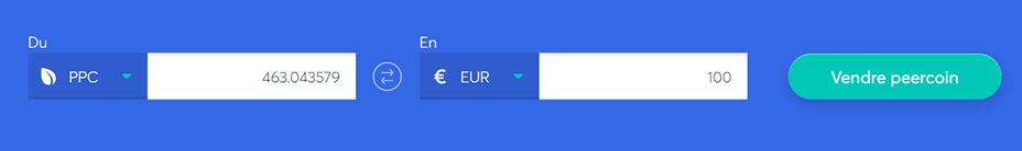 Echange de barres pour vendre du Peercoin