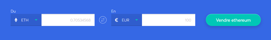 sélectionnez la crypto-monnaie que vous souhaitez vendre