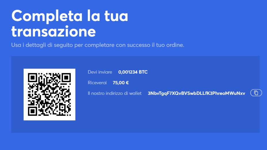 invia la tua criptovaluta all'indirizzo wallet di anycoin direttamente