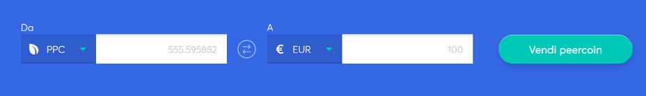 Barra di scambio per vendere Peercoin
