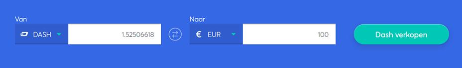 Exchange bar om dash te verkopen