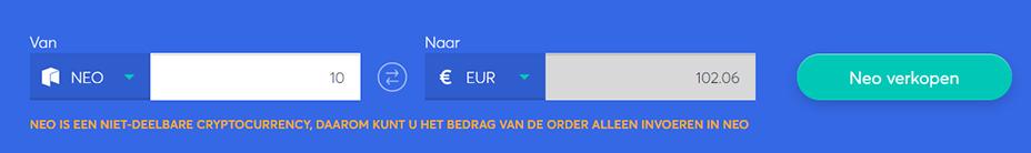 Exchange bar om NEO te verkopen