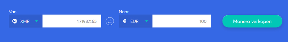 Exchange bar om Monero te verkopen