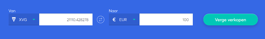 Exchange bar om Verge te verkopen